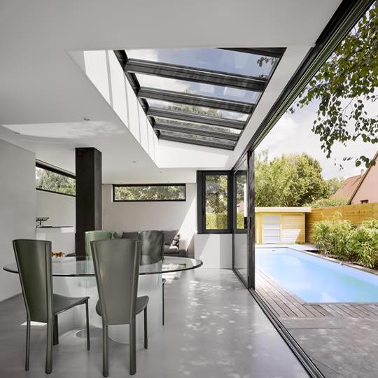 veranda toit plate avec dome